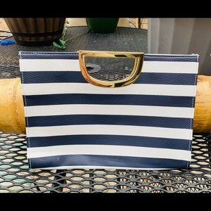 The Limited Striped Nautical Clutch Blue/white